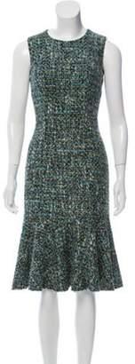 Dolce & Gabbana Bouclé Knit Flounce Dress Aqua Bouclé Knit Flounce Dress