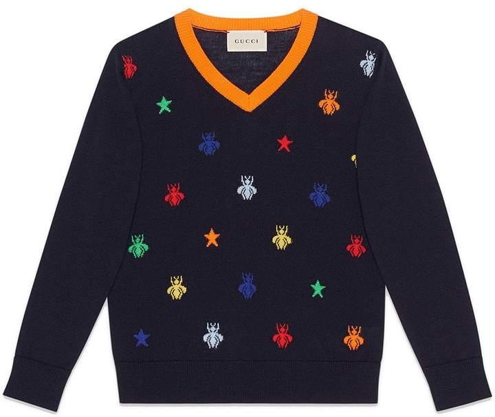 Gucci Kids Children's bees and stars jacquard merino sweater
