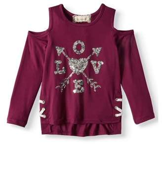 Btween Cold Shoulder Glitter Love Long Sleeve Shirt (Little Girls & Big Girls)