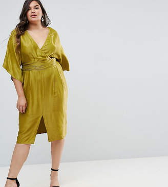 Asos Kimono Sleeve Midi Dress With Pleated Waist