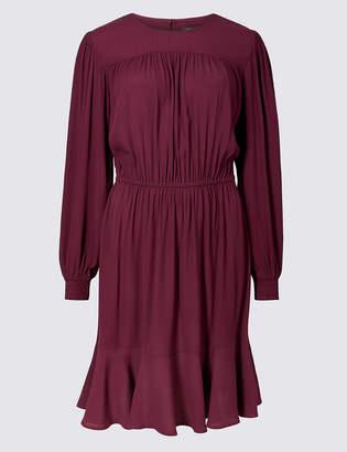 M&S Collection Ruffle Hem Long Sleeve Skater Dress