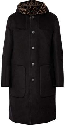 Fendi Reversible Logo-print Virgin Wool And Silk-blend Hooded Coat - Black