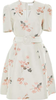 Co Belted Floral Jacquard Mini Dress