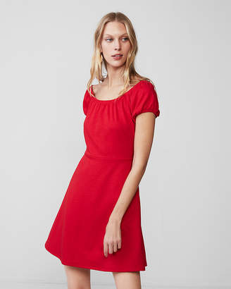 Express Shirred Scoop Neck Mini Dress
