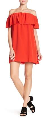 French Connection Off-the-Shoulder Ruffle Popover Dress