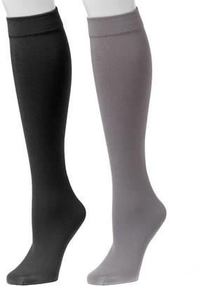 Muk Luks Women's Fleece-Lined Knee-High Socks 2 -Pair Pack