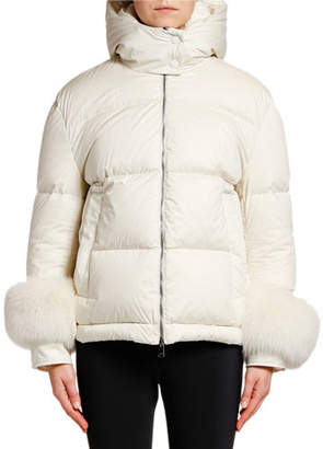 Moncler Fraie Puffer Jacket w/ Fur Cuffs