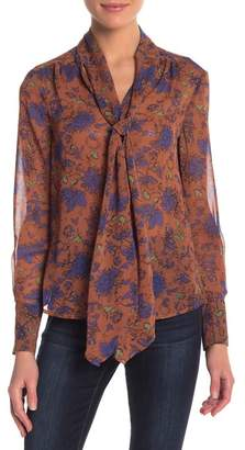 Mae re:named apparel Dana Floral Neck Tie Blouse