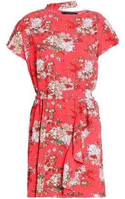 Walter W118 By Baker Wendy Cutout Ruffled Floral-Print Crepe Mini Dress
