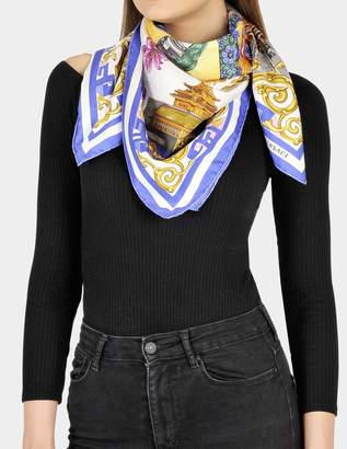 Versace 90x90 Dragon Scarf in Blue and White Silk