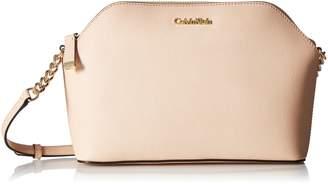 Calvin Klein Top Zip Chain Saffiano Leather Crossbody