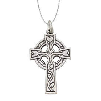 FINE JEWELRY Sterling Silver Rhodium Oxidized Antique Circle of Life Cross 18 Pendant Necklace