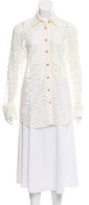 Balmain Lace Button-Up Top