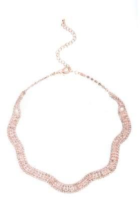 Quiz Rose Gold Diamante Wave Necklace