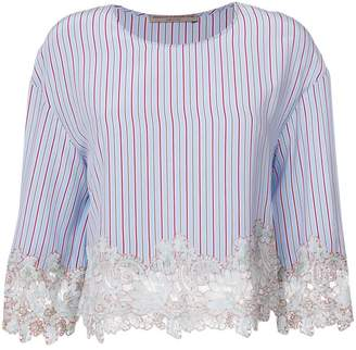 Ermanno Scervino lace panel striped top