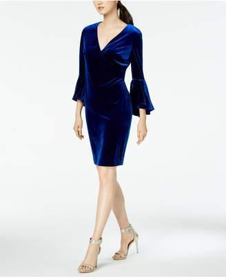 Calvin Klein Flare-Sleeve Velvet Sheath Dress