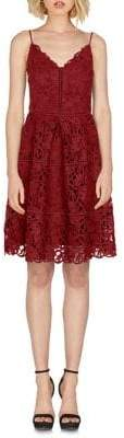 Adelyn Rae Spaghetti-Strap Lace Fit-And-Flare Dress