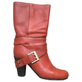 Chloé Orange Leather Boots