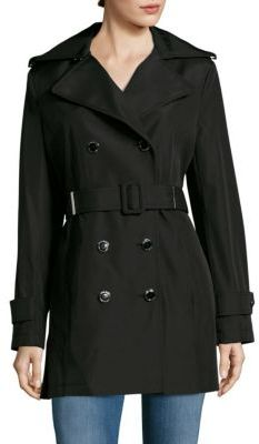 Calvin KleinSolid Double-Breasted Trench Coat