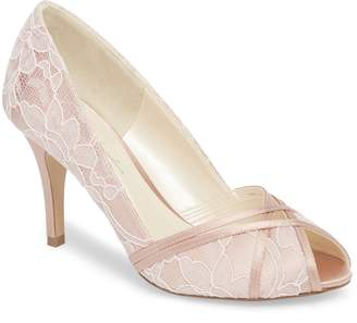Paradox London Pink Cherie Embroidered Peep Toe Pump