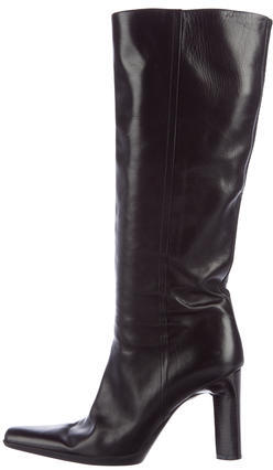 prada Prada Pointed-Toe Knee-High Boots