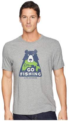 Life is Good Let's Go Fishing Bear Smooth Tee Men's T Shirt