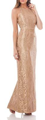 JS Collections Metallic Embroidered Halter Gown