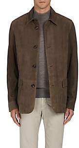 Luciano Barbera MEN'S PLAID SUEDE COAT - GRAY SIZE XXL
