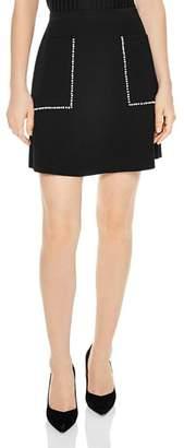Sandro Louis Studded A-Line Mini Skirt