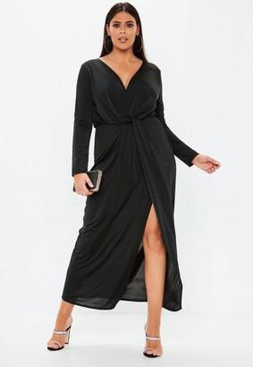 Missguided Plus Size Black Twist Front Slinky Maxi Dress