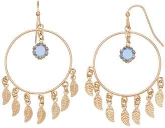 Lauren Conrad Nickel Free Leaf & Hoop Drop Earrings