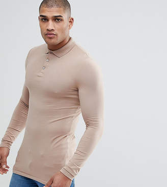 Asos DESIGN TALL Longline Muscle Fit Long Sleeve Polo In Jersey