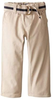Eddie Bauer Boys Uniform Flat Front Brushed Twill Straight Leg Pant with Web Belt