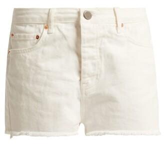 Raey Hawaii Raw Cut Denim Shorts - Womens - White