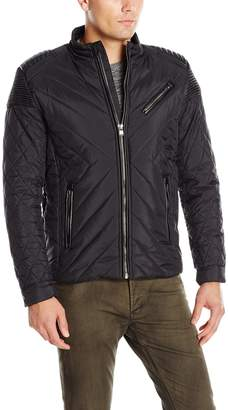 X-Ray Men's Slim Fit Quiltd Nylon Moto Jacket with Stitch Detail on Shoulder