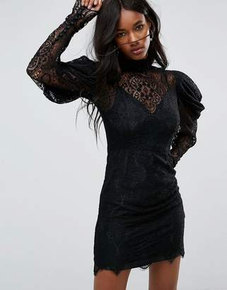 Asos Design Lace Drape Sleeve Mini Dress