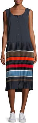 Public School Jama Sleeveless Striped Pleated Midi Dress