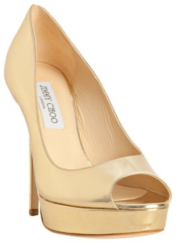 Jimmy Choo gold mirror leather 'Crown' peep toe platform pumps