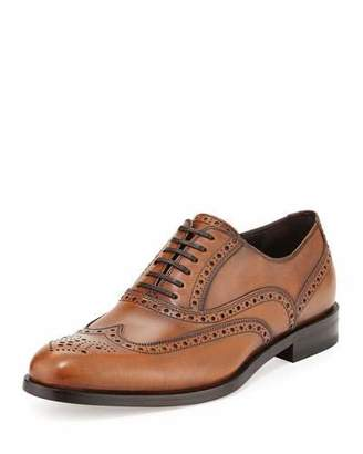 Salvatore Ferragamo Gerard Calfskin Wing-Tip Lace-Up Oxford, Light Brown $595 thestylecure.com