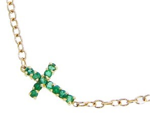 Andrea Fohrman Emerald Cross Bracelet - Yellow Gold