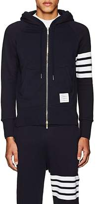 Thom Browne Men's Block-Striped Cotton Hoodie - Navy