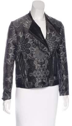 Helmut Lang Leather-Trimmed Jacquard Jacket