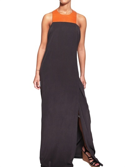 Marlota - Silk Crepe And Leather Detail Long Dress