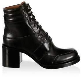 Tabitha Simmons Leo Leather Block Heel Combat Boots