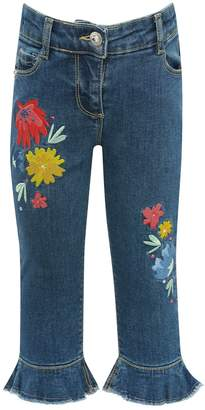 M&Co Embroidered frill hem cropped jeans