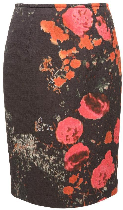 Giambattista Valli Rose-print Pencil Skirt