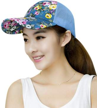 106abe15ba23a Fakeface Women s Girls Fashion Floral Baseball Caps Sunhat Adjustable  Quickly Dry Mesh Sun Visor Hats Anti