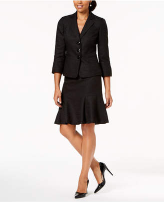 Le Suit Tweed Three-Button Flare-Hem Skirt Suit