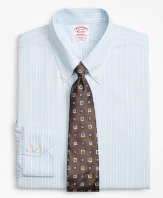 Brooks Brothers Stretch Madison Classic-Fit Dress Shirt, Non-Iron Royal Oxford Alternating Stripe