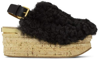 Chloé Black Shearling Camille Sandals